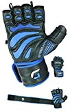 """Elite Leather Gym Gloves with Built in 2"""" Wide Wrist Wraps Best Grip & Design for WeightLifting Power Lifting Bodybuilding & Strength Training Workout Exercises"""