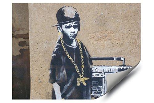 Banksy Street Graffiti B-Boy Boom Box Kid Gold Gun Chain HD Vinyl Wall Art Poster Decal (Gold Boombox)