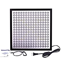 Niello™ ultra-thin & ultra-light LED Grow Light Panel 45W 225 LEDs 6-Band Full Spectrum Include UV IR for Indoor Plants Growing(Black)