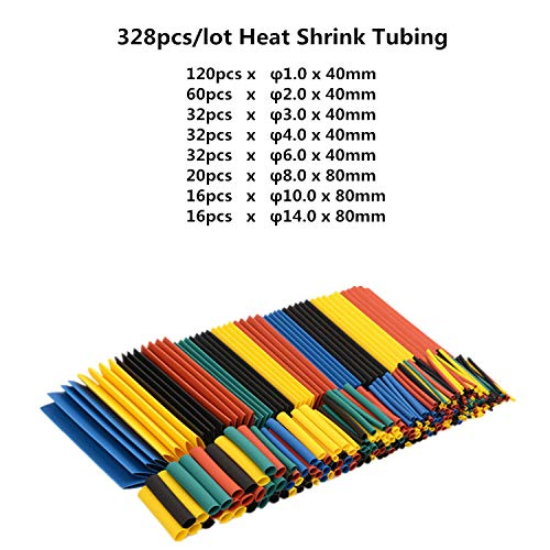 (328pcs Heat Shrink Tubing Tube Wire Insulation Sleeving Kit Car Electrical Shrinkable Cable Wrap Set Assorted Polyolefin)