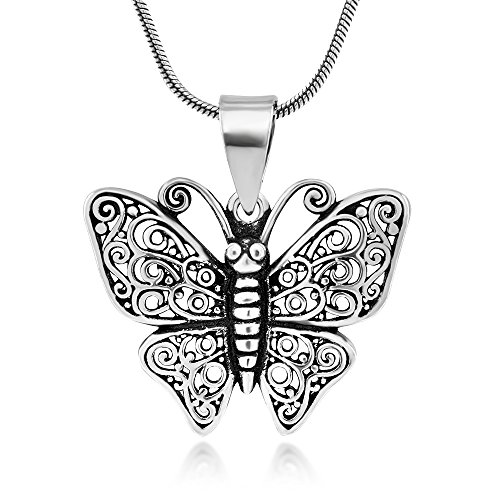 925 Oxidized Sterling Silver Big Butterfly Filigree Pendant Necklace, 18 inches - Nickel Free Sterling Silver Filigree Butterfly Pendant