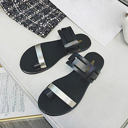 Sommer Große Fashion Flachen Casual Klippzehe Sandalen Flip Sandalen SANFASHION Frauen Schwarz Sexy Förderung Flops Hohl 88IEFr