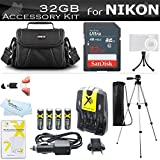 32GB Accessory Kit For Nikon Coolpix B500, L330, L340, L810 L820 L830 L840 Digital Camera Includes 32GB High Speed SD Memory Card + 4AA Rechargeable NIMH Batteries + Rapid Charger + Case + Tripod ++