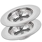Kitchen Sink Strainer Basket Catcher (2-pack) - 4.5' Diameter, Wide Rim Perfect for Most Sink Drains, Anti-Clogging Micro-Perforation 2mm Holes, Rust Free, Dishwasher Safe