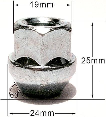 Radmuttern Offener Kopf Für Alufelgen Verzinkt M12 X 1 25 Kegelbund 19 Mm Sechskant Set Mit 5 Radmuttern Auto