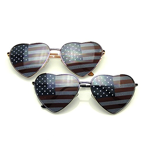 Multiple Pair Sunglasses Pack Shades BUNDLE Sunglasses Flash Mirror Mirrored Sunglasses Shades UV400 Sunglasses (Novelty Lens | American Flag, - Heart Sunglasses Flag American