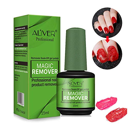 Magic Nail Polish Remover, Easily & Quickly Removes Soak-Off Gel Polish, Don't Hurt Nails, Professional Non-Irritating Nail Polish Remover-15ml