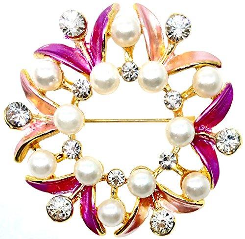 Bijoux De Ja BDJ Gold Tone Hand Painted Enamel Rhinestone Faux Pearl Wreath Brooch Pin (Pink)