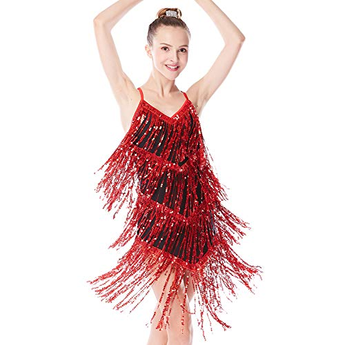 MiDee Sequin-Fringes Dance Costume Dress for Jazz Latin Iceskating Camisole (MA, Red)