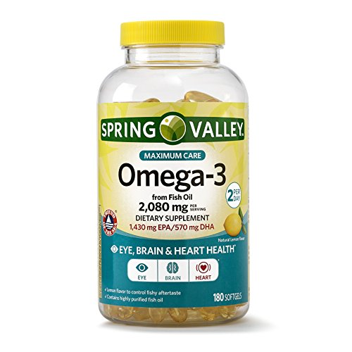 Spring Valley Omega-3 from Fish Oil Maximum Care, 2080 mg Omega-3, 180 Softgels by Spring Valley