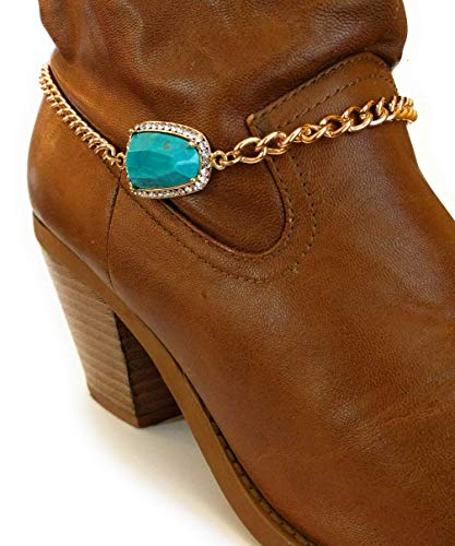 Turquoise Boot Charm Bracelet Chain Adjustable Size 16-Inch