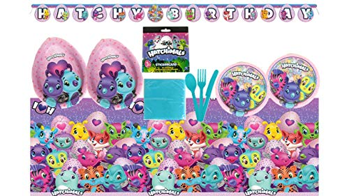 Hatchimals Birthday Party Supplies Bundle Set for 16 Guests - Plates, Tablecover, Banner, Cutlery, Napkins, Stickers