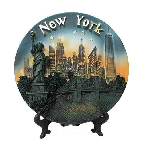 New York Souvenir 3D Plate with Statue of Liberty, Empire State Building, Chrysler Building, Freedom Tower, Brooklyn Bridge 6 Inches - On Avenue Stores 5th Nyc