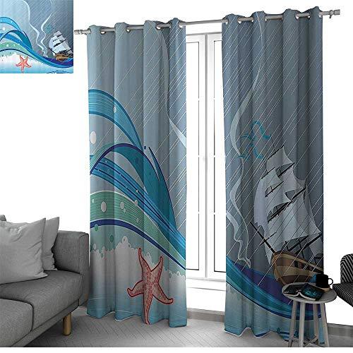 Blue Decor Window Treatments Draperies for Bedroom Ocean Sealife Nautical Navy Cartoon Rain Stripes Image Room Darkening Curtains for Bedroom Dark Blue Light Blue and Turquoise W84 x L96 Inch
