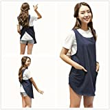 Round Skirt Cotton Linen Pinafore Apron Halter Cross Bandage Solid Color Japan Style Japanese Simple Aprons No Tie Double Pockets