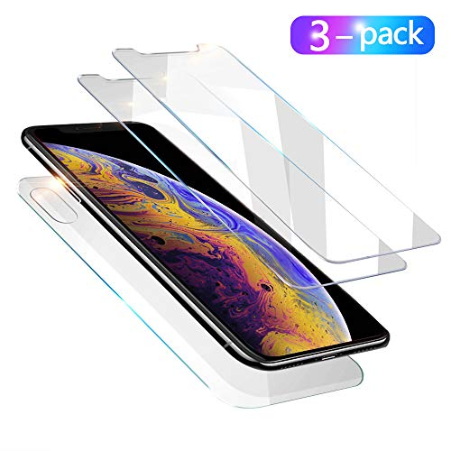 [3-Pack ] Compatible with iPhone X and iPhone Xs Front Back Tempered Glass Screen Protector, [3D Touch] [Case Friendly] [Bubble-Free] with Easy Installation for Apple iPhone X/Xs (5.8 Inch)