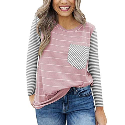 Toimothcn Women Striped Tops with Pocket Long Sleeve O-Neck Loose T-Shirt Blouse(Pink,XL) (Where Nice Curtains Buy To)