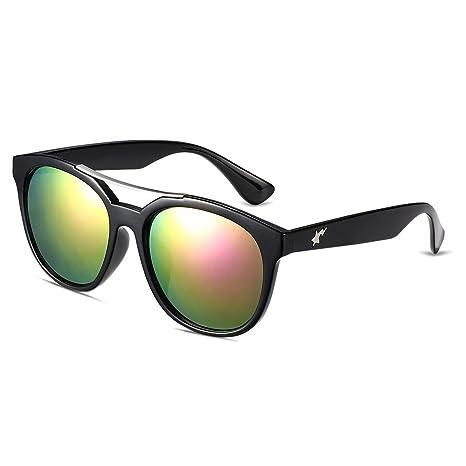 NYKKOLA polarizadas efecto espejo reflectante Revo estilo gafas de sol UV400 con borde color lente gran