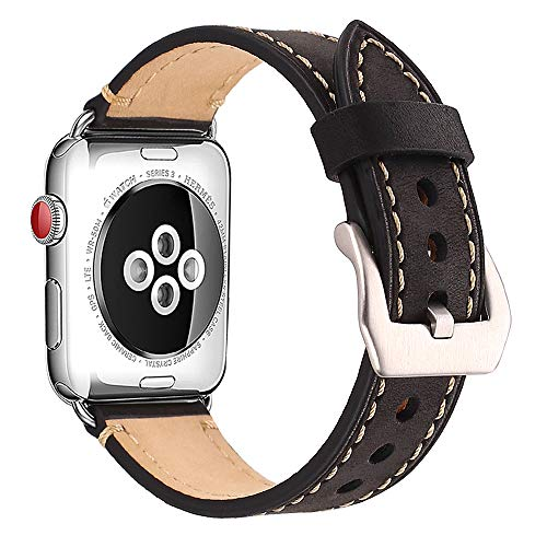 Mkeke Compatible Apple Watch Band 42mm Genuine Leather iWatch Bands 42mm Black