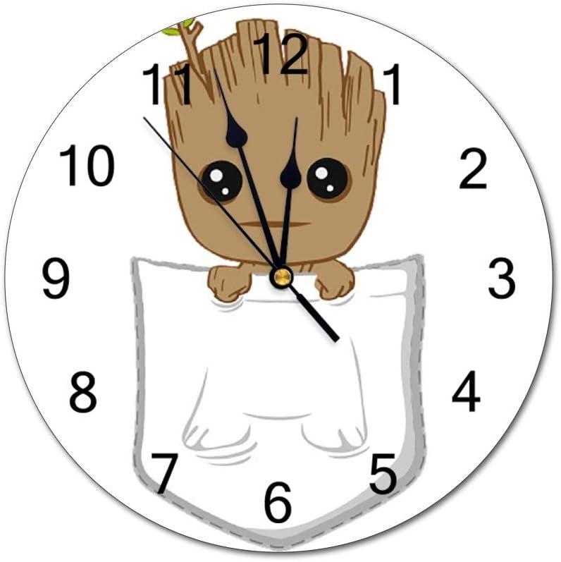 SunBingzhou Pocket Groot Wall Clock 10 Inch Silent PVC Decorative Round Wall Clock Home Decor Wall Clock Non Ticking