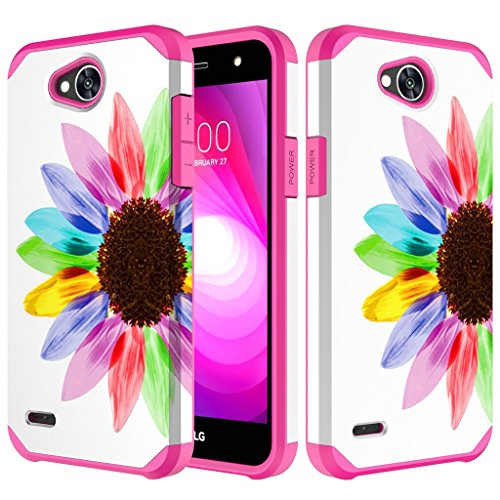 - LG X Power 2 / LG X Charge/LG Fiesta LTE Dual Layer Protection Hybrid Slim Case Cover (Colorful Sunflower)
