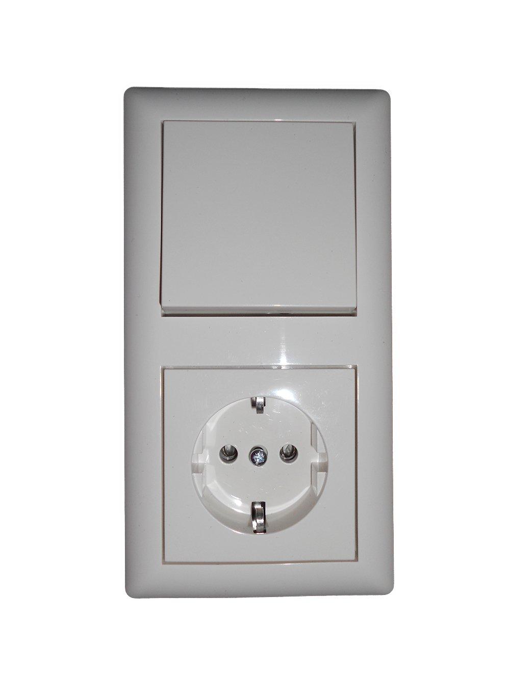 2 Stck.Lichtschalter/Steckdosen TP 55 - 2-fach Kombination komplett ...