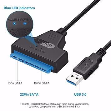 SUNDELLAO 22 Pin SATA a USB 3.0 de 2,5 Pulgadas, Disco de ...