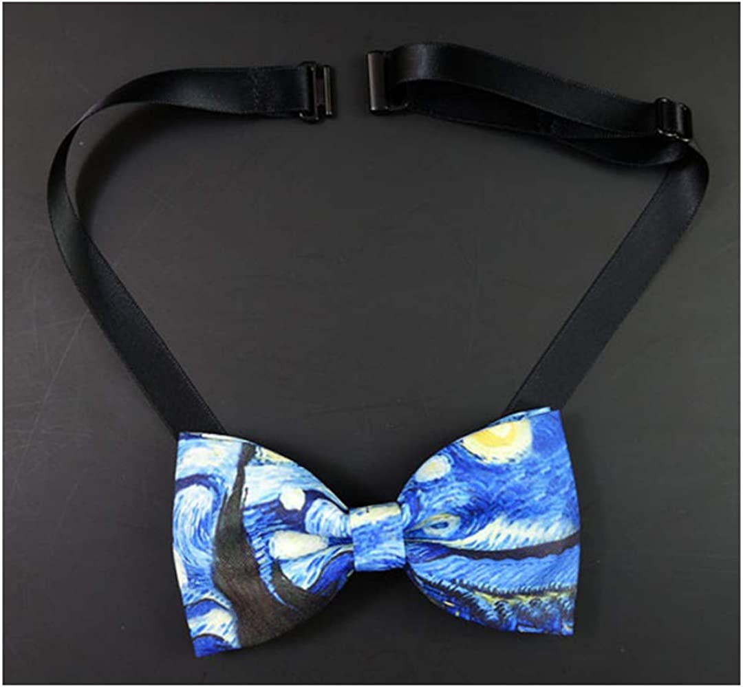 Necktie Bow Printing Tie Mens Womens Wedding Business The Starry Night Print Bow Tie Trendy Bowtie