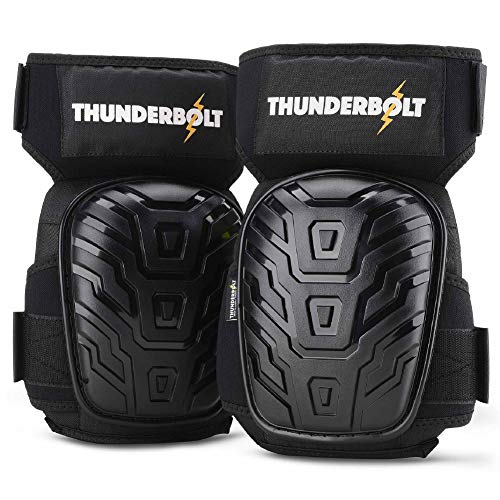 Knee Pads for Work by Thunderbolt for Flooring Construction Workers, Tile, Gardening, Cleaning with Gel Cushion and Anti-Slip Straps (Pads Knee Crane)