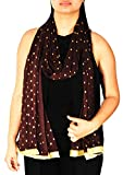 Indian Dupatta with Golden Dotted Print Chiffon Stole Scarf Chunni Hijab Gift for Woman (Brown)