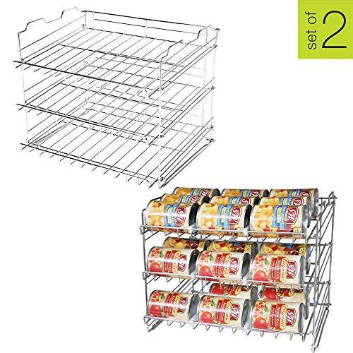 Smart Design Premium 3 Tier Can Rack Organizer w/Adjustable Shelves - Steel Wire Frame - for Cans, Jars, Cooking Ingredients Organization - Kitchen (17.5 x 13.625 Inch) (Chrome) - Set of 2