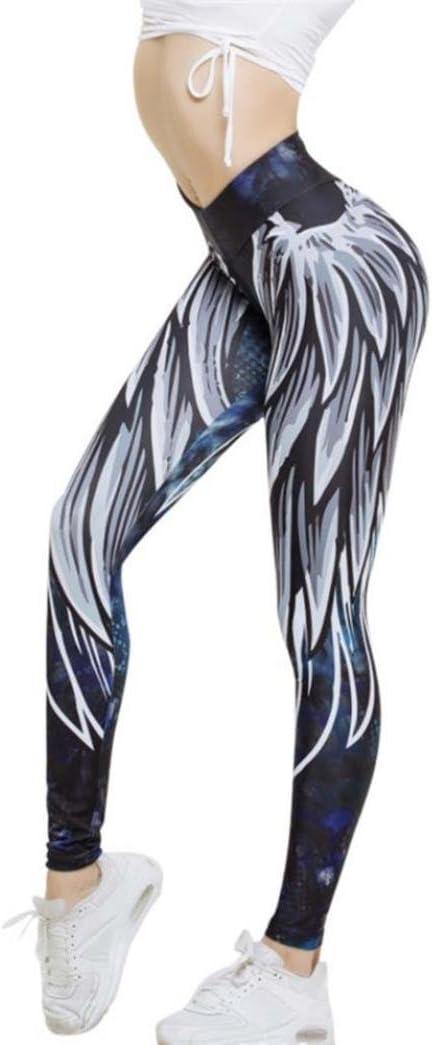 Leggings Deporte Mujer Sexy 2018,Mallas Yoga Mujer Leggins Polainas de Fitness de Cintura Alta Pantalones Yoga de impresión de alas de Mujer Fitness Pantalones Push up niña