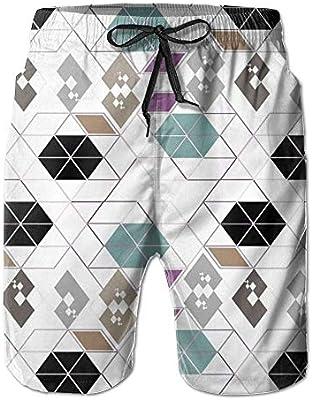 HEAGRWGRE Vector Geometry Pantalones de Playa clásicos para Hombre ...