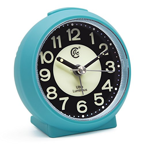 JCC Charming Luminous Small Round Handheld Size Non Ticking Quartz Bedside Desk Clock Travel Alarm Clock with Light Night, Snooze Function - Battery Operated (Matte - Blue)