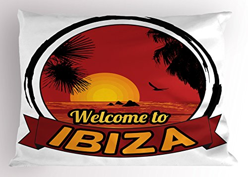 Lunarable Ibiza Pillow Sham, Sundown in Balearic Islands South of Spain with Tropical Trees and Fauna, Decorative Standard King Size Printed Pillowcase, 36 X 20 Inches, Orange Black and Ruby by Lunarable