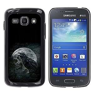 KLONGSHOP // Cubierta de piel con cierre a presión Shell trasero duro de goma Protección Caso - Cuervo y del cráneo - Samsung Galaxy Ace 3 //
