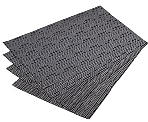 Mint cook washable reversible heat resistant placemats for dining table gray bamboo - Heat resistant table cloth ...