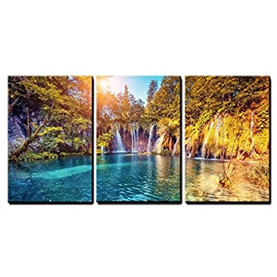 3 Piece Canvas Wall Art - Majestic View on Turquoise Water and Sunny Beams in The Plitvice Lakes National Park - Modern Home Art Stretched and Framed Ready to Hang - 16