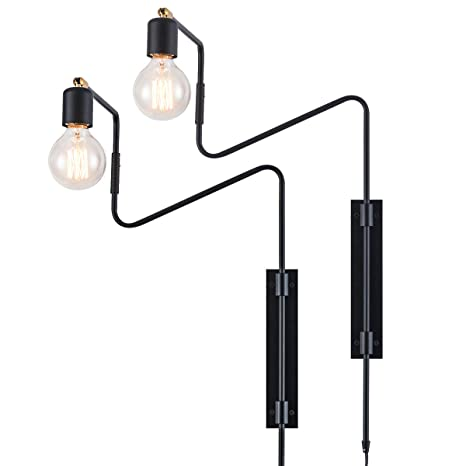 Rustic Swing Arm Plug In Wall Sconce Lamp Light Black Plating Plug In Or Hardwired Industrial Retro Rustic Antique Wall Lamp For Living Room Bedroom