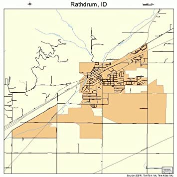 18 Street Road Map Of Rathdrum Idaho Id Printed Small Size