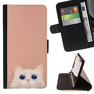 For Samsung Galaxy Core Prime / SM-G360 Case , Sonriente lindo Ojos Pastel minimalista- la tarjeta de Crédito Slots PU Funda de cuero Monedero caso cubierta de piel