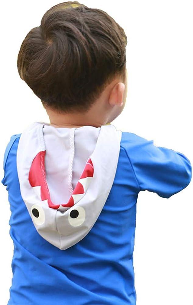 Digirlsor Toddler Kids Boys Two Piece Swimsuit Cartoon Hoodie Rash Guard Sun Protection Swimwear Bathing Suit,0-8Y