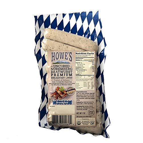 Howe's Uncured Nuremberg Bratwurst Links 7 Oz (4 Pack)