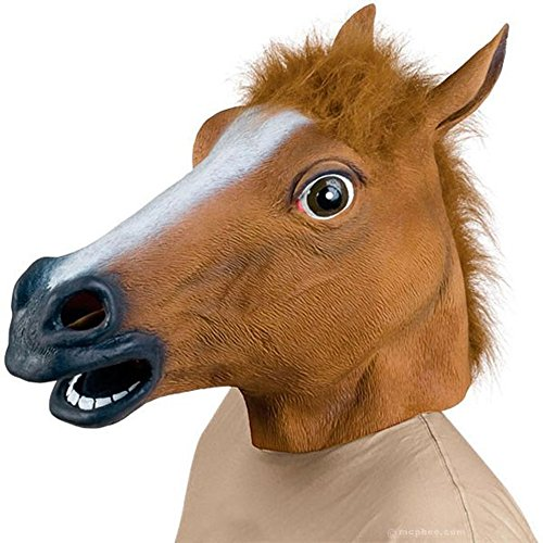 Brown Horse Head - HRToys Deluxe Novelty Halloween Costume Party Latex Animal Head Mask (Horse)