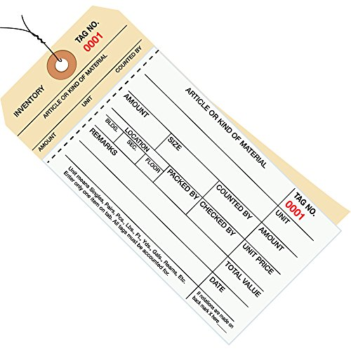 - Partners Brand PG19093 Pre-Wired Inventory Tags, 8 2 Part Carbonless Stub Style, Numbered 4000-4499, 6-1/4