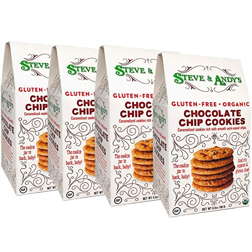 Kosher Organic Cookies - Organic Chocolate Chip Cookies, Gluten Free by Steve and Andy's -- Crispy and Crunchy Cookie, Non GMO, No Corn Syrup, No Tree Nuts, Kosher (Chocolate Chip, 4 Boxes)