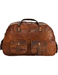 New Vintage Mens And Women Genuine Leather Duffle Travel Overnight Gym Bag Brown