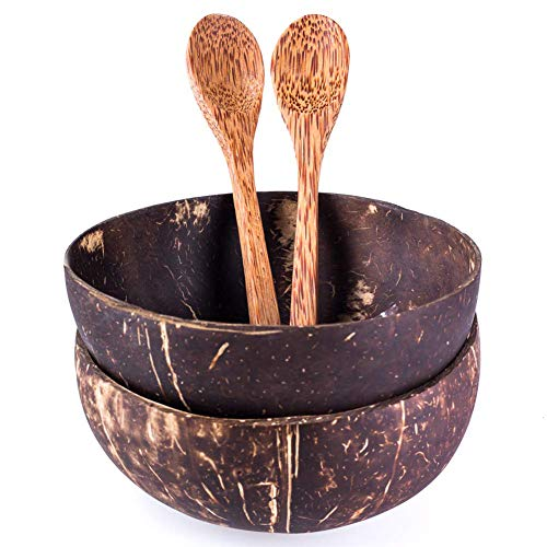 (Coconut Bowls and Coconut Spoons - Handmade - Great for Serving Noodle, Pasta, Smoothie, Porridge, Cereal - Polished with coconut oil,Set of 2)