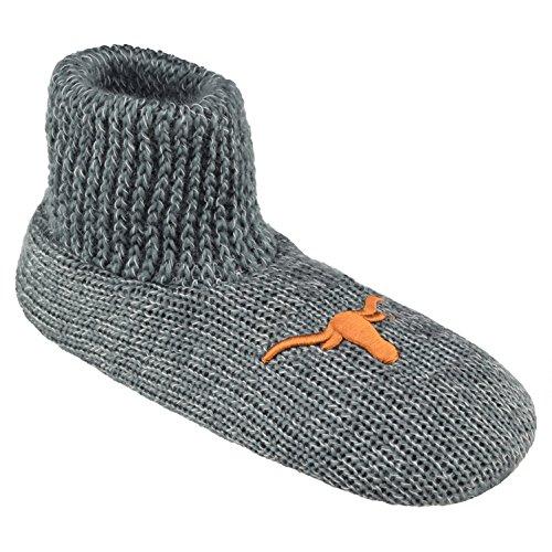 (NCAA Texas Longhorns Ribbed Cuff Wool Blend Slipper Socks, Small, Grey)