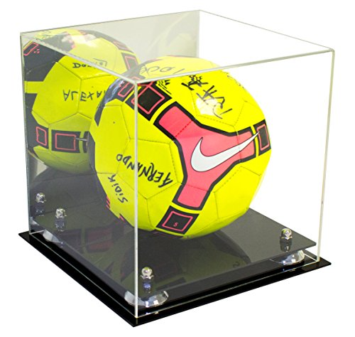 - Deluxe Acrylic Soccer Ball Display Case with Silver Risers and Mirror (A027-SR)
